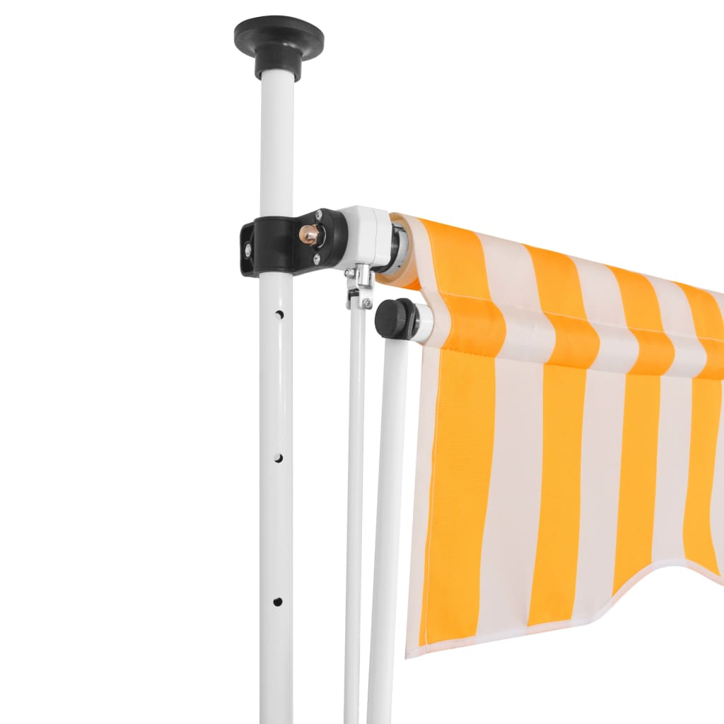 Manual Retractable Awning 200 cm Yellow and White Stripes 2