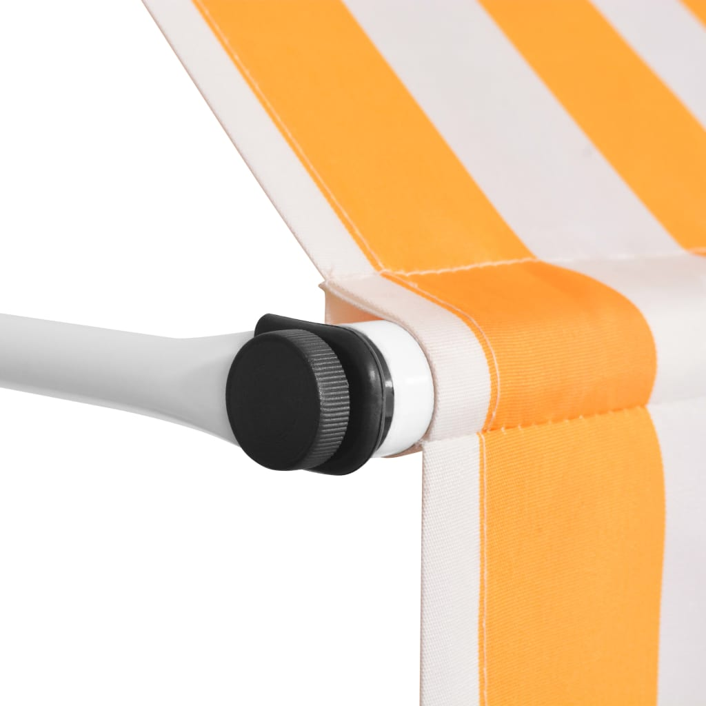 Manual Retractable Awning 200 cm Yellow and White Stripes 3