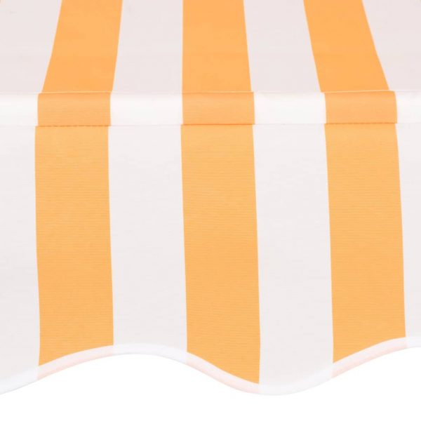 Manual Retractable Awning 200 cm Yellow and White Stripes 4