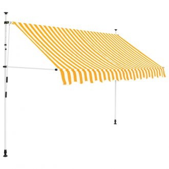 Manual Retractable Awning 250 cm Yellow and White Stripes 1