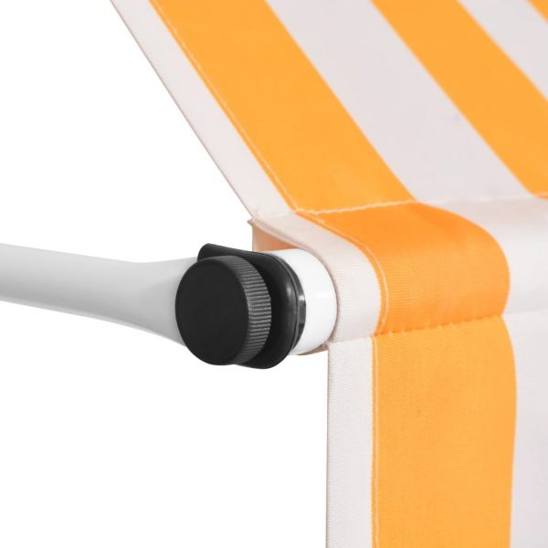 Manual Retractable Awning 250 cm Yellow and White Stripes 3