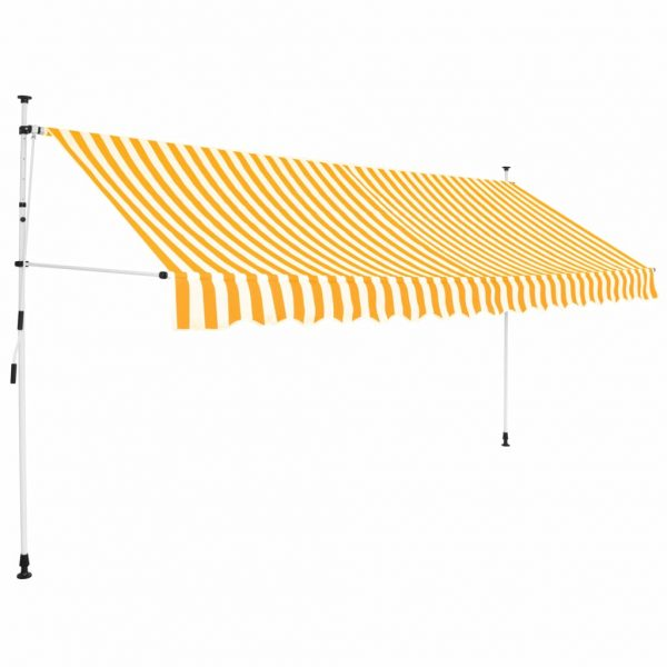 Manual Retractable Awning 350 cm Yellow and White Stripes 1