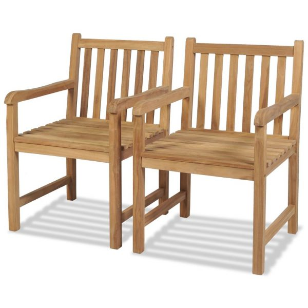 Outdoor Chairs 2 pcs Solid Teak Wood 1