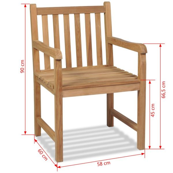 Outdoor Chairs 2 pcs Solid Teak Wood 7