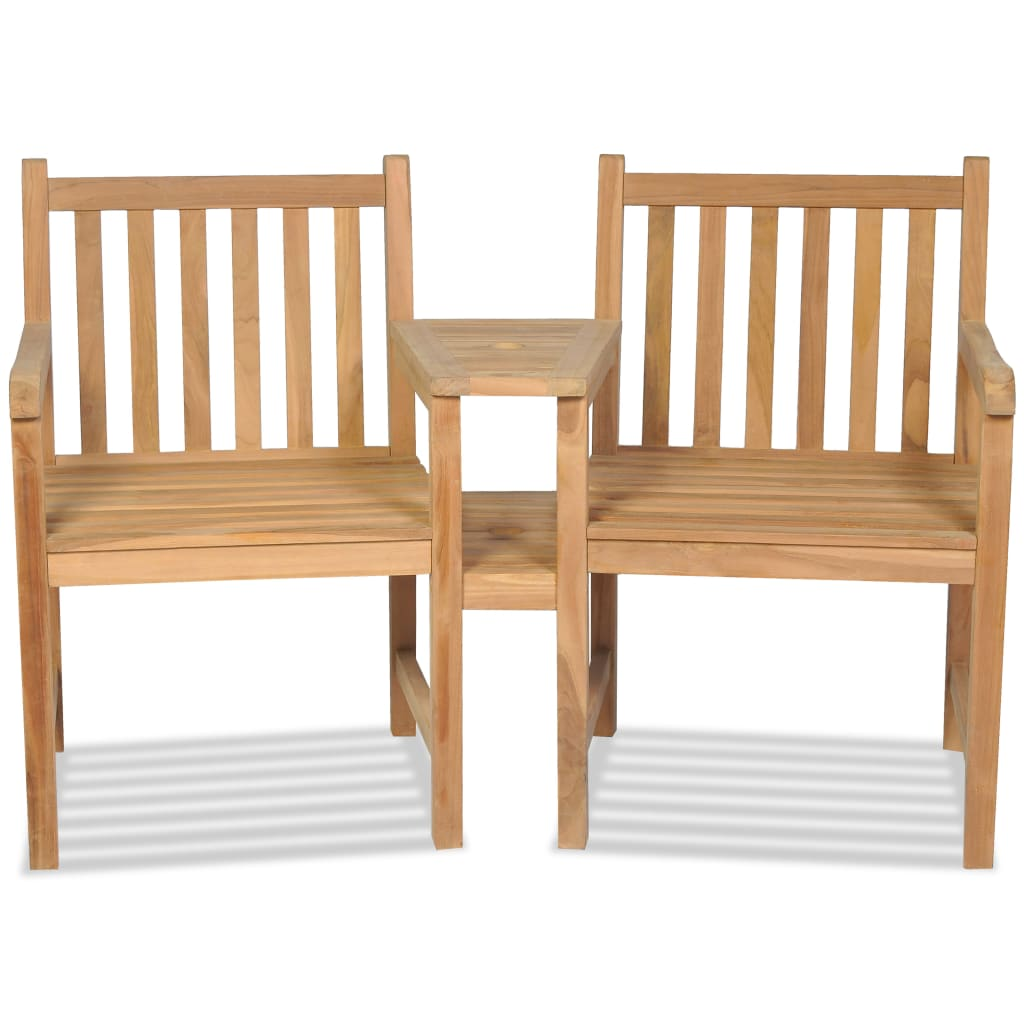 Outdoor Chairs 2 pcs with Parasol Hole Solid Teak Wood 2