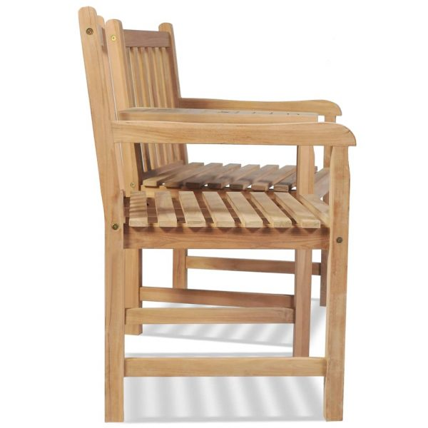 Outdoor Chairs 2 pcs with Parasol Hole Solid Teak Wood 3