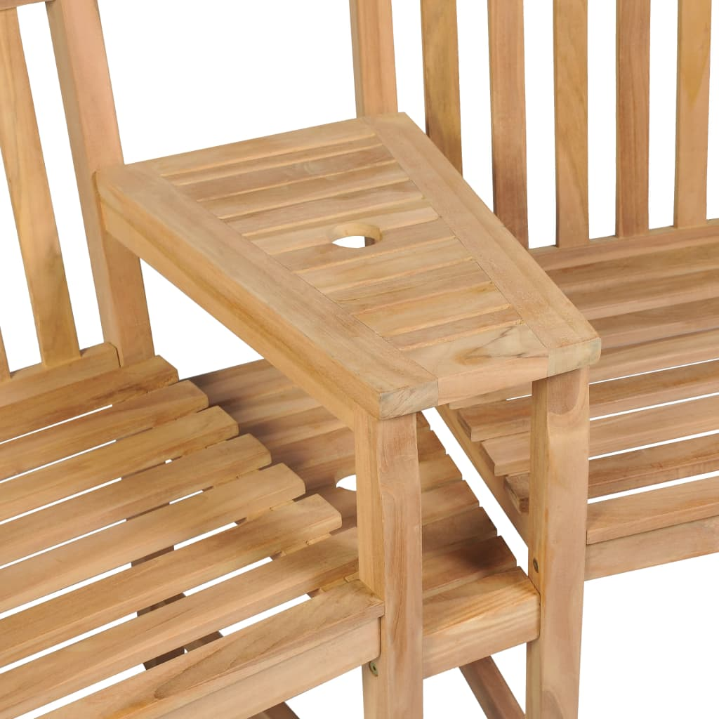 Outdoor Chairs 2 pcs with Parasol Hole Solid Teak Wood 4