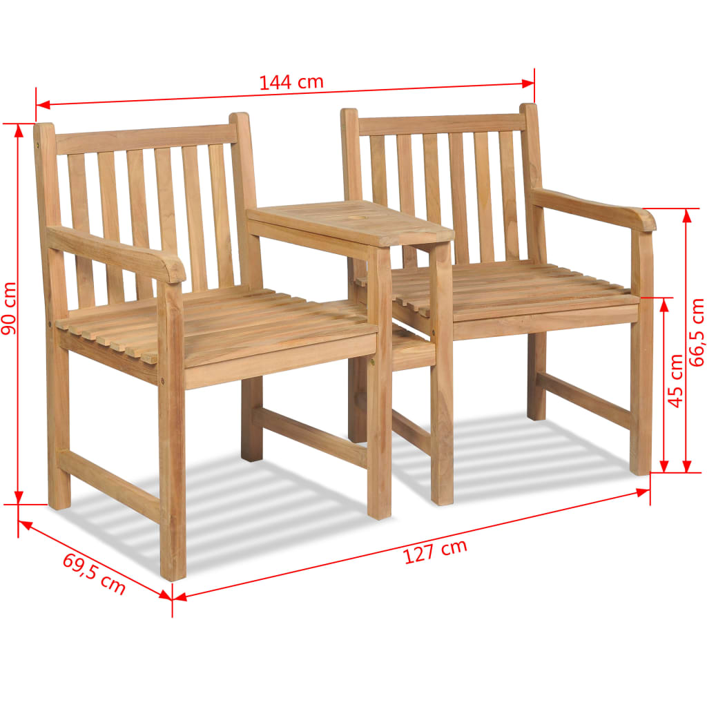 Outdoor Chairs 2 pcs with Parasol Hole Solid Teak Wood 7