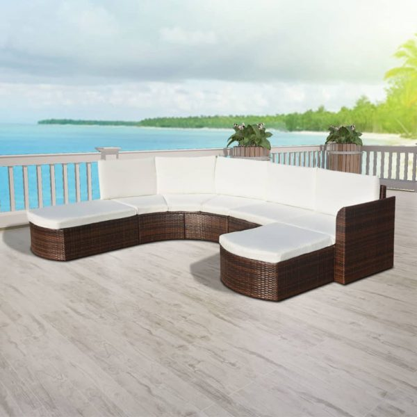 4 Piece Garden Lounge Set with Cushions Poly Rattan Brown 2