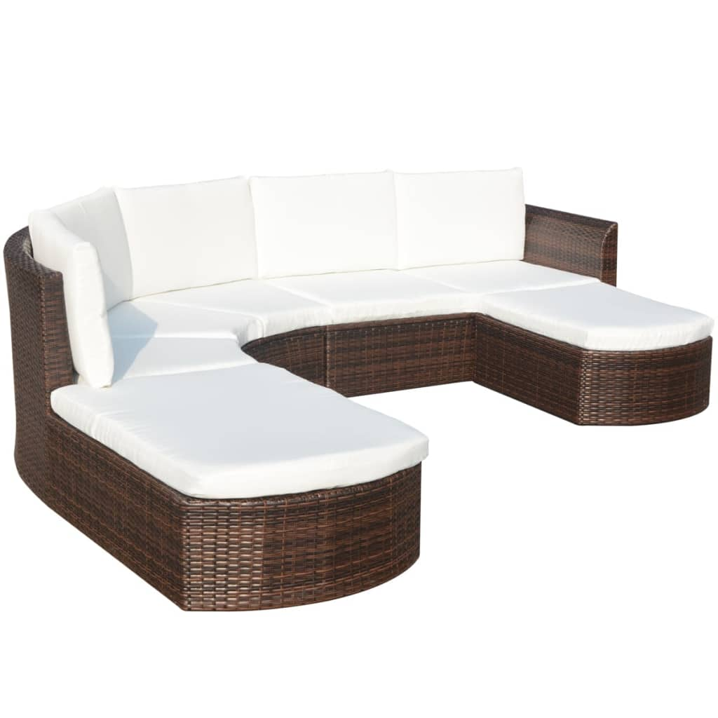 4 Piece Garden Lounge Set with Cushions Poly Rattan Brown 4
