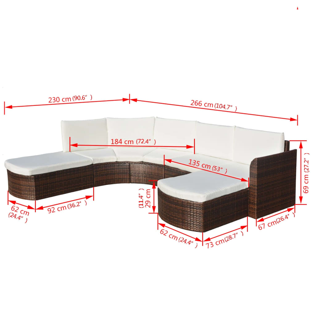 4 Piece Garden Lounge Set with Cushions Poly Rattan Brown 6