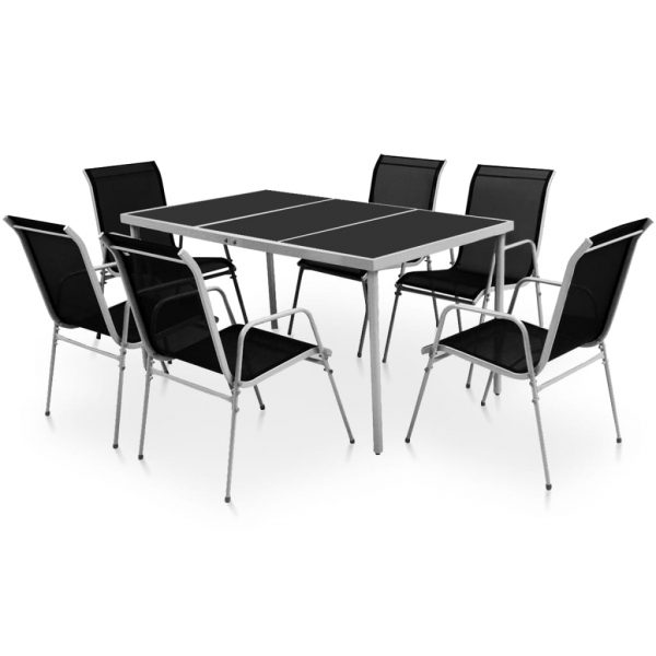 7 Piece Outdoor Dining Set Steel Black 1