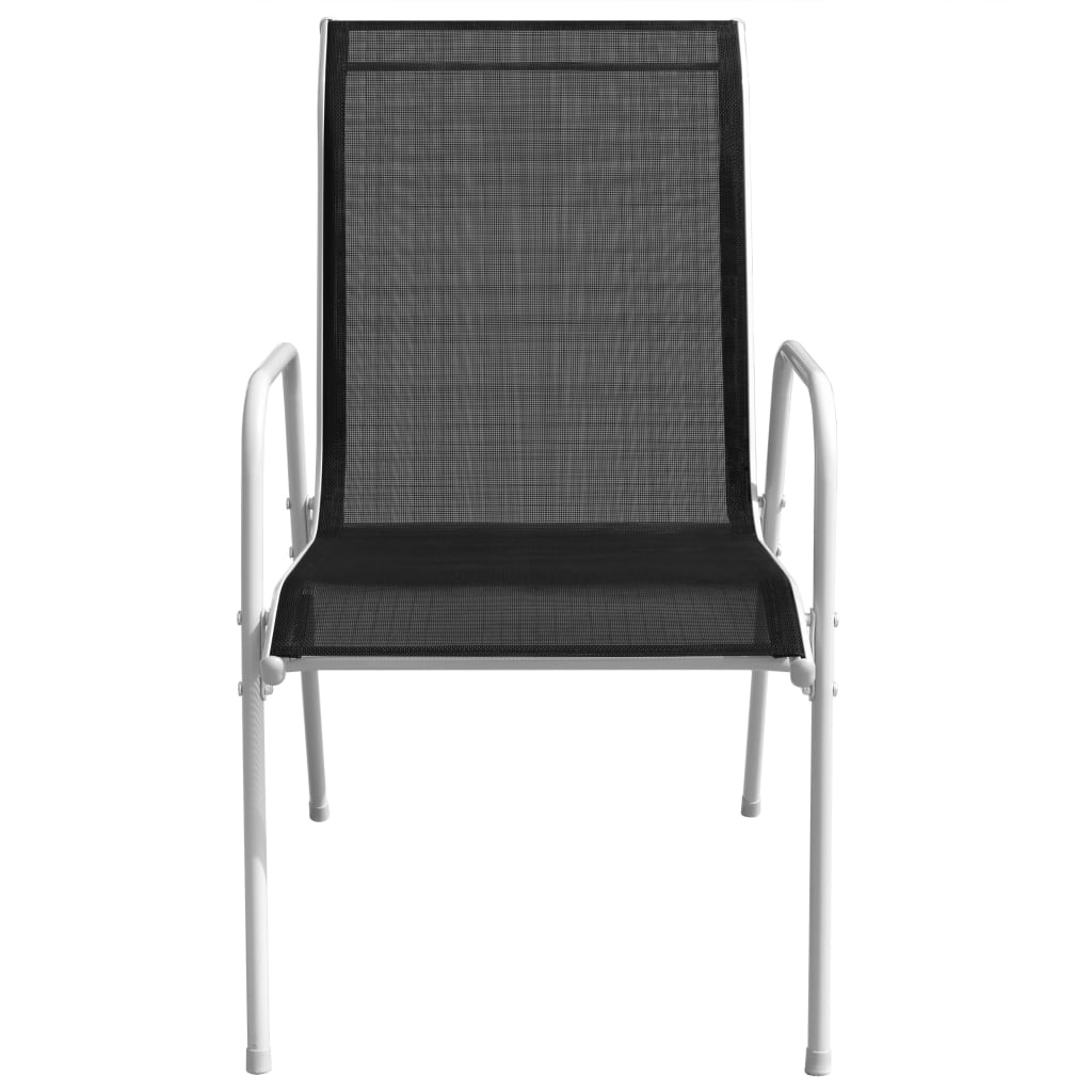 Stackable Garden Chairs 6 pcs Steel and Textilene Black 3