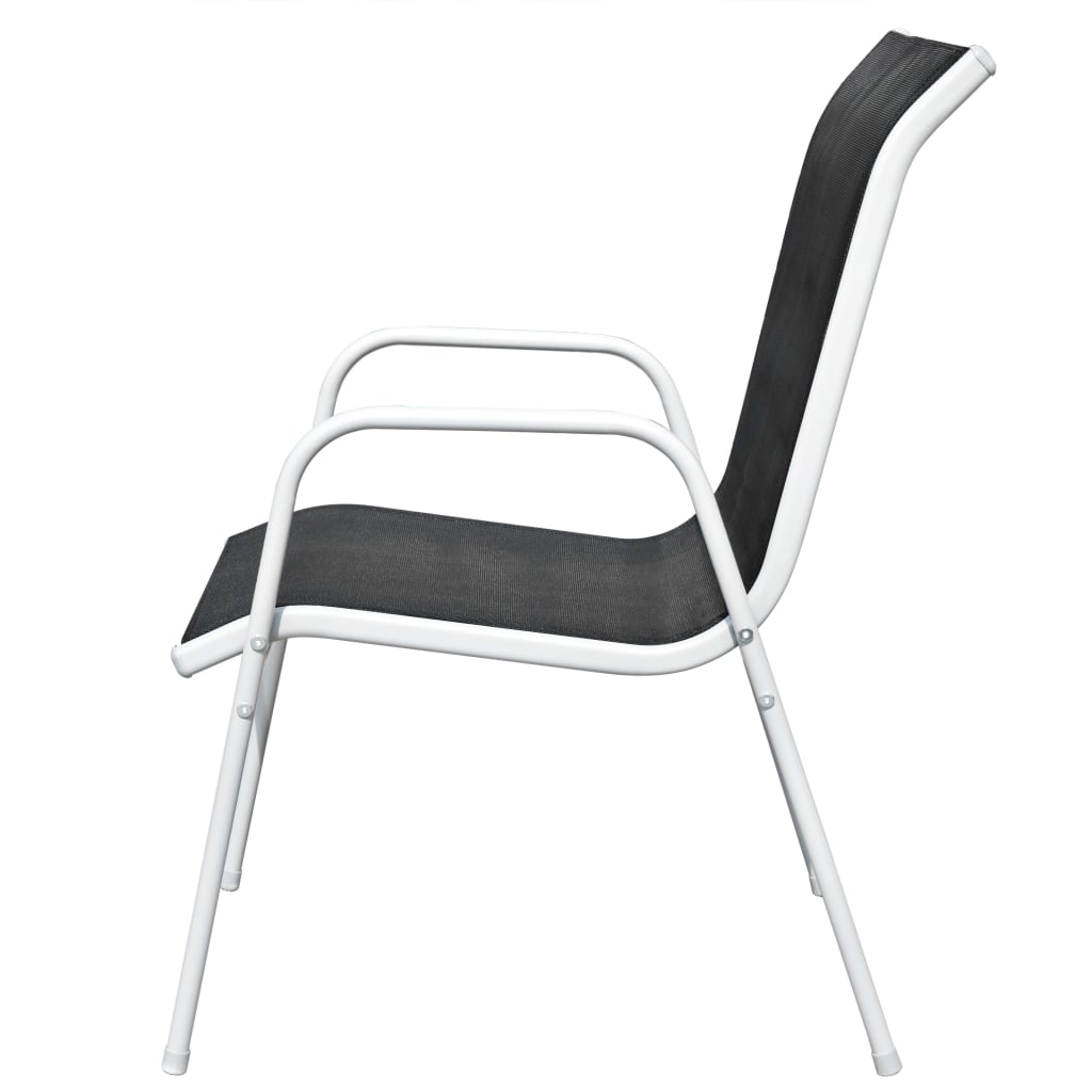 Stackable Garden Chairs 6 pcs Steel and Textilene Black 4