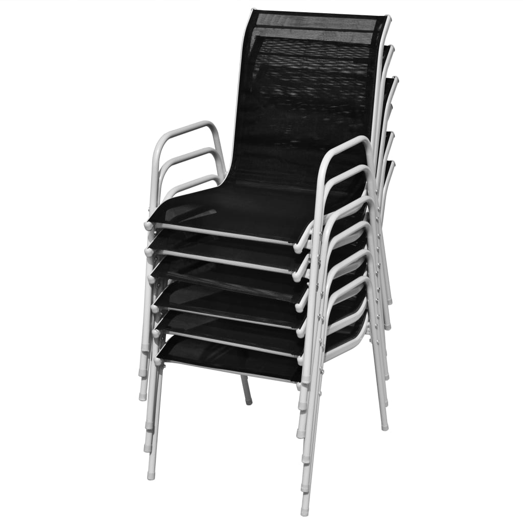 Stackable Garden Chairs 6 pcs Steel and Textilene Black 5