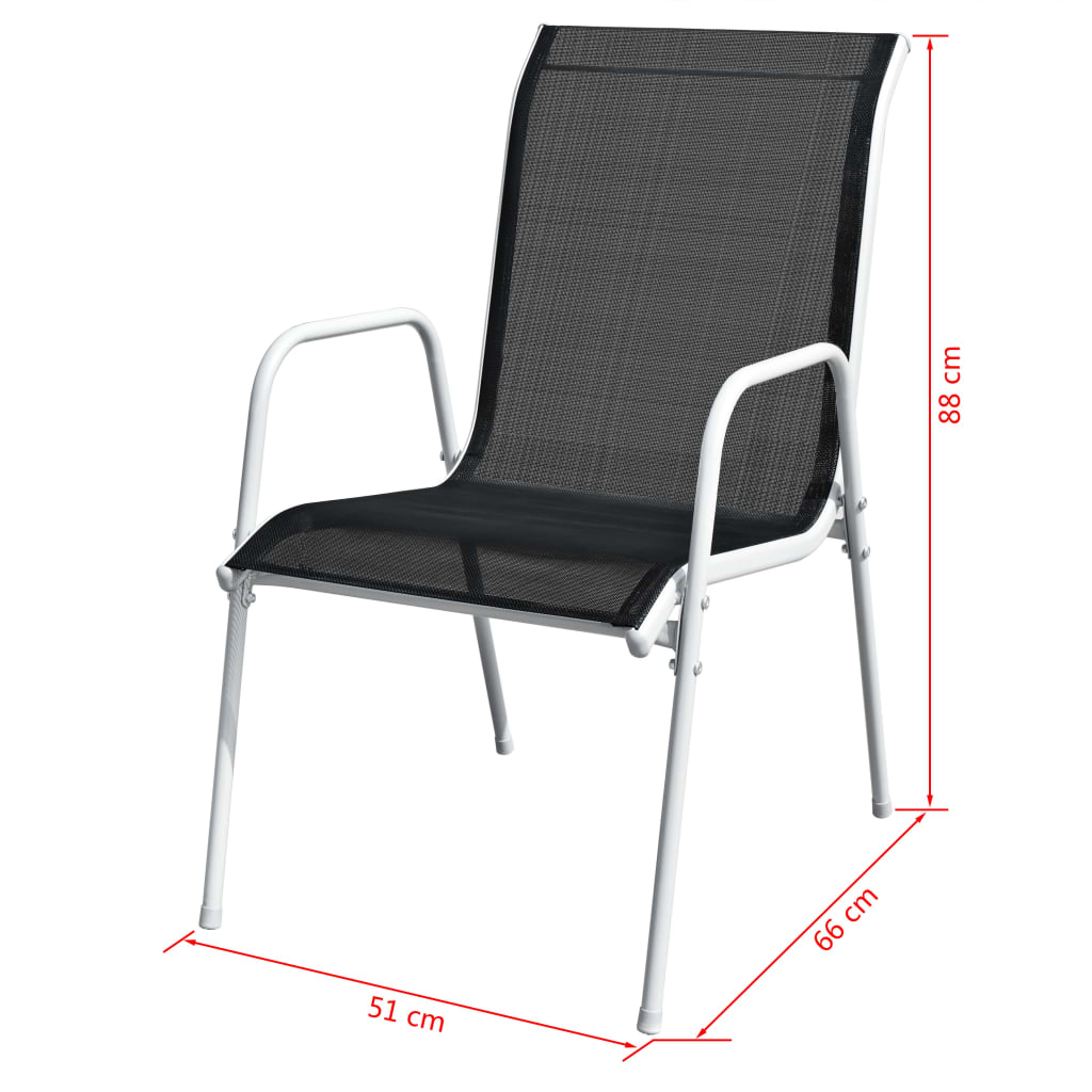Stackable Garden Chairs 6 pcs Steel and Textilene Black 7