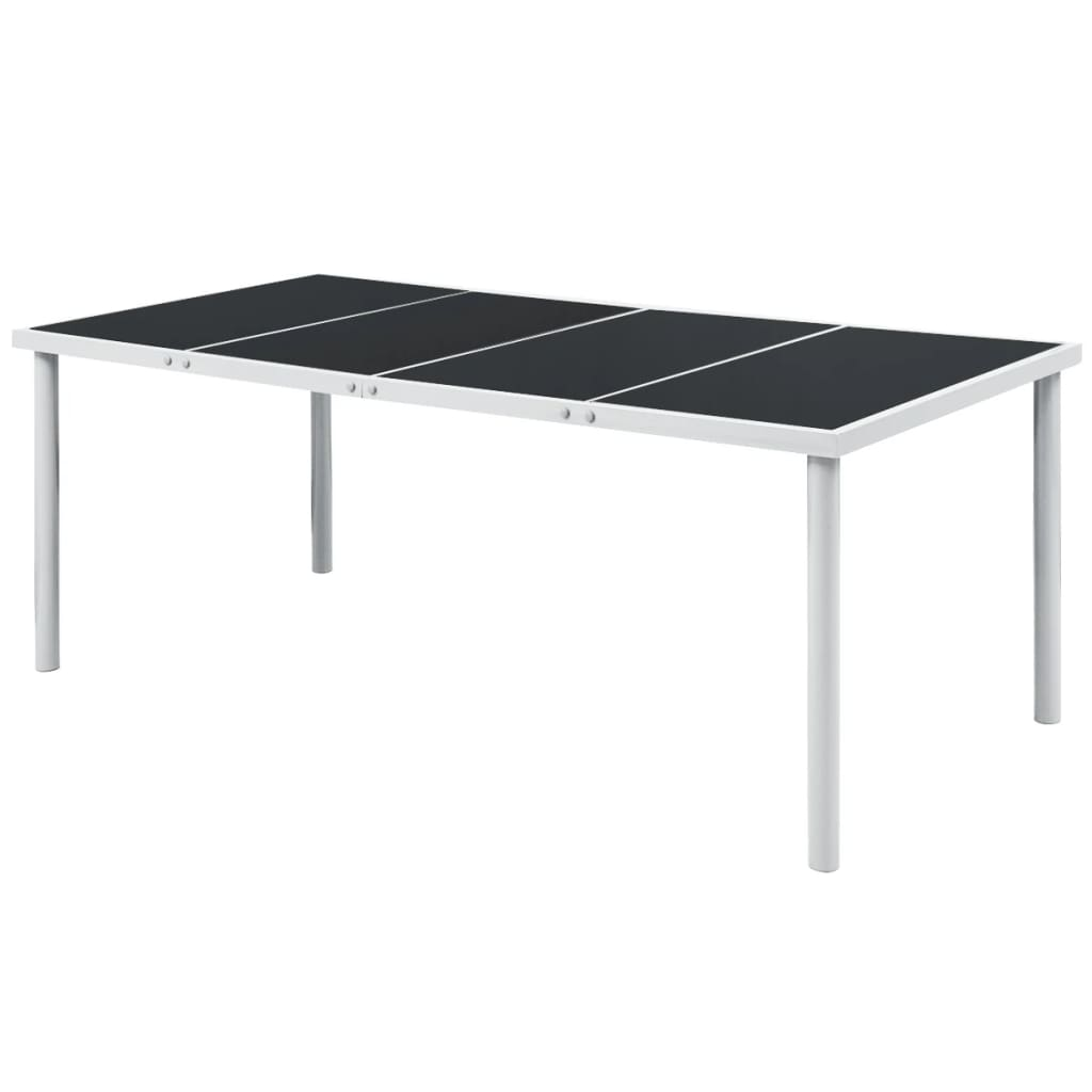 Garden Table 190x90x74 cm Black Steel