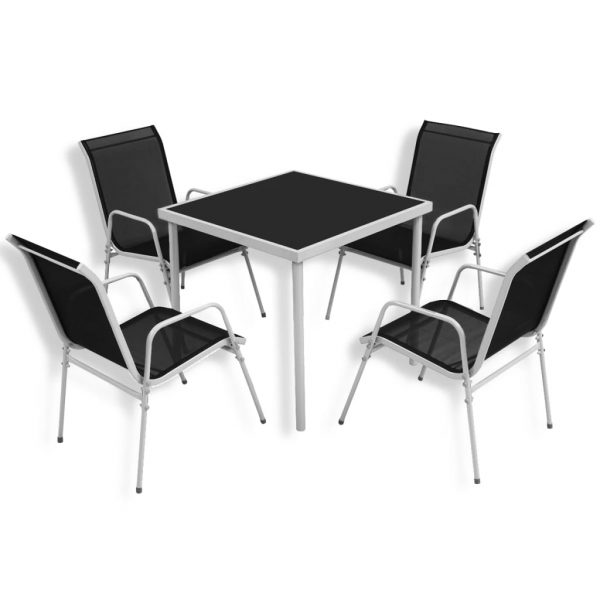 5 Piece Outdoor Dining Set Steel Black 1
