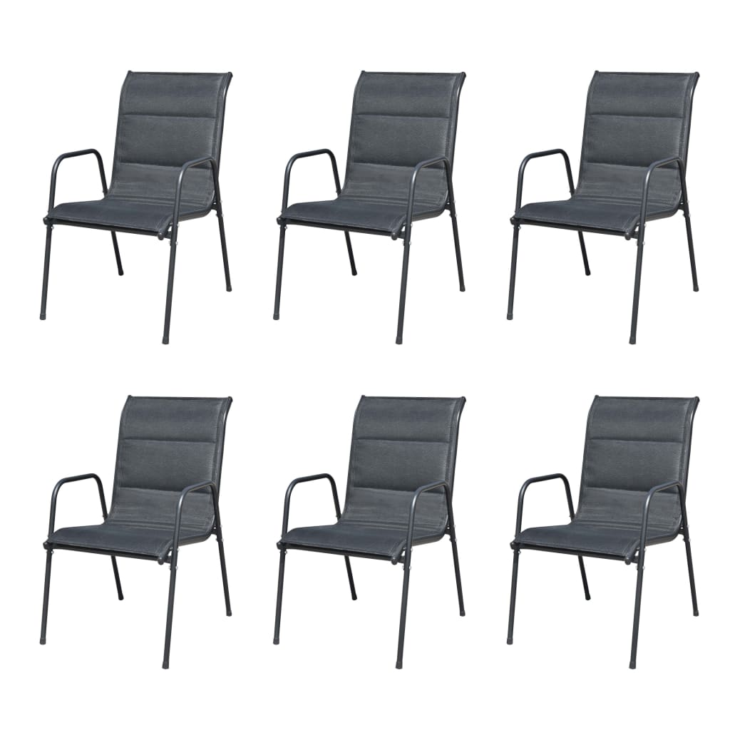 Stackable Garden Chairs 6 pcs Steel and Textilene Black 1