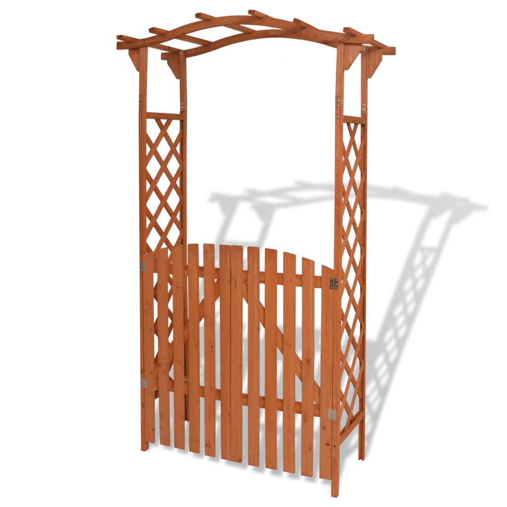 Garden Arch with Gate Solid Wood 120x60x205 cm 1