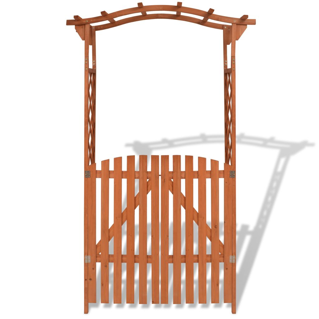 Garden Arch with Gate Solid Wood 120x60x205 cm 3