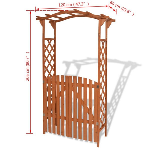 Garden Arch with Gate Solid Wood 120x60x205 cm 6