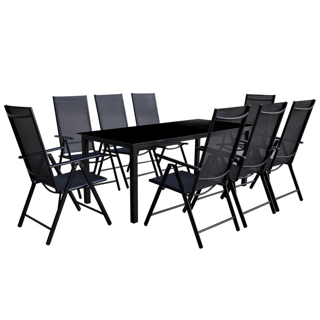 9 Piece Folding Outdoor Dining Set Aluminium Black 1