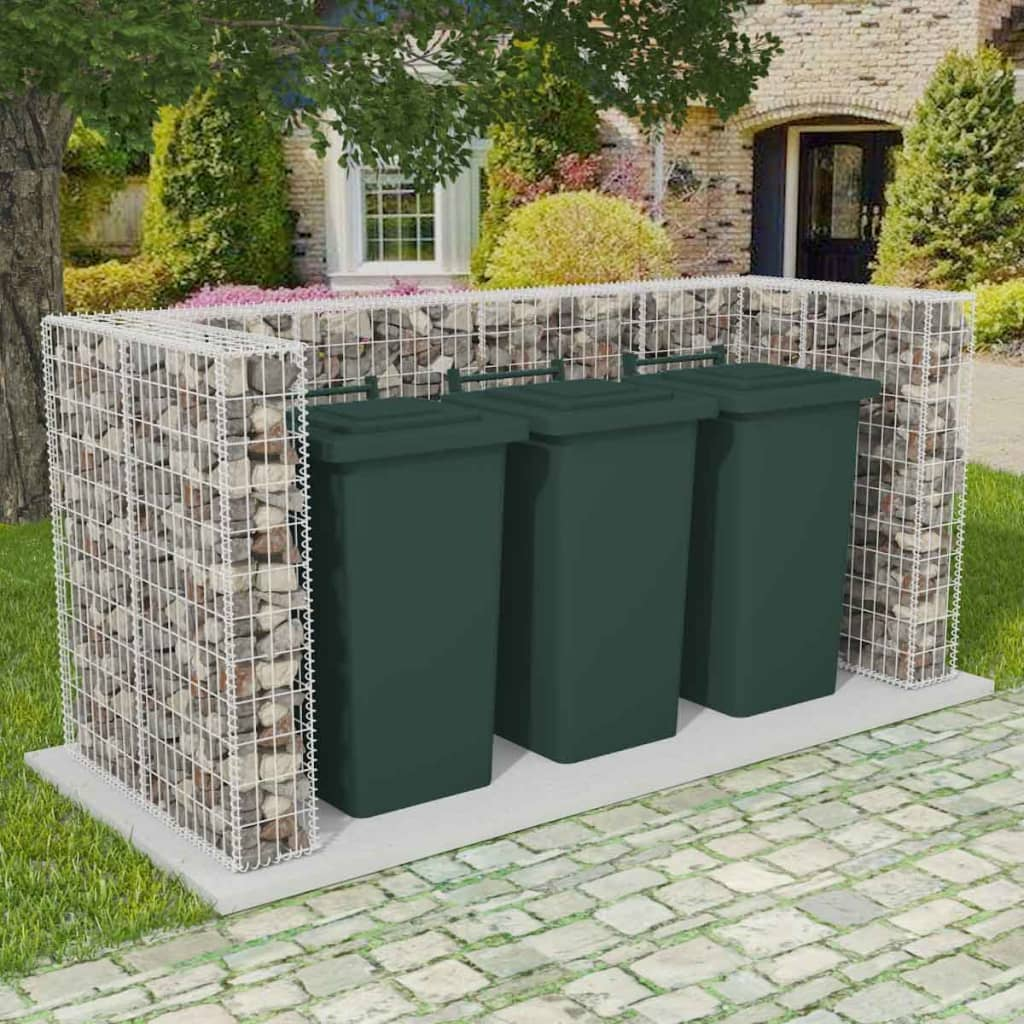 Gabion Triple Wheelie Bin Surround Steel 250x100x120 cm 1