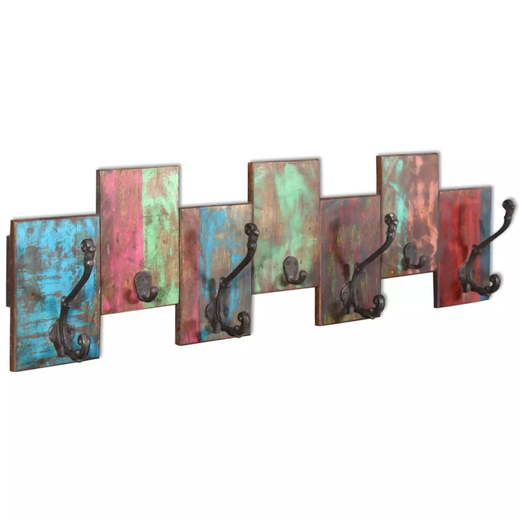 Coat Rack with 7 Hooks Solid Reclaimed Wood 1