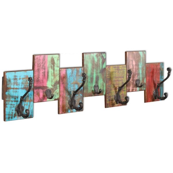 Coat Rack with 7 Hooks Solid Reclaimed Wood 2