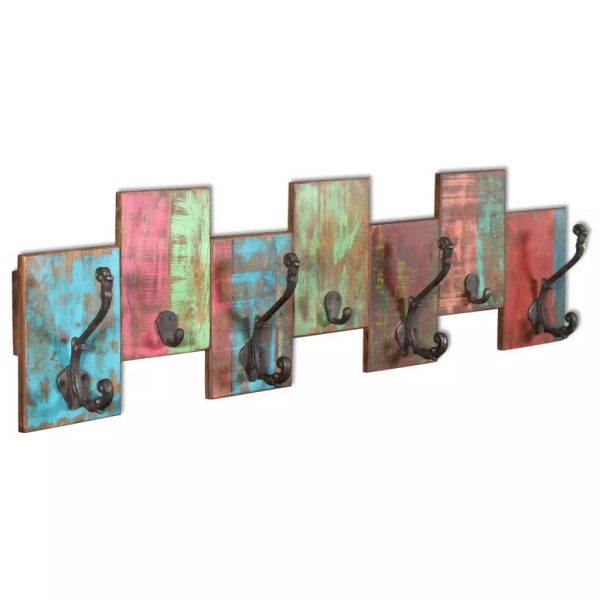 Coat Rack with 7 Hooks Solid Reclaimed Wood 4