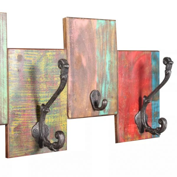 Coat Rack with 7 Hooks Solid Reclaimed Wood 8