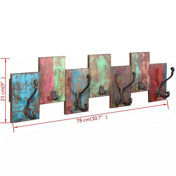 Coat Rack with 7 Hooks Solid Reclaimed Wood 9