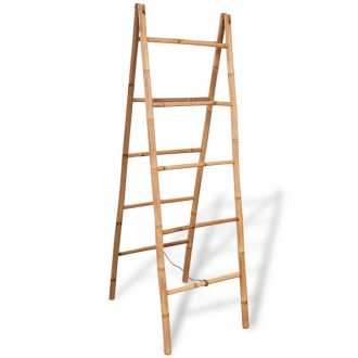 Double Towel Ladder with 5 Rungs Bamboo 50×160 cm 1