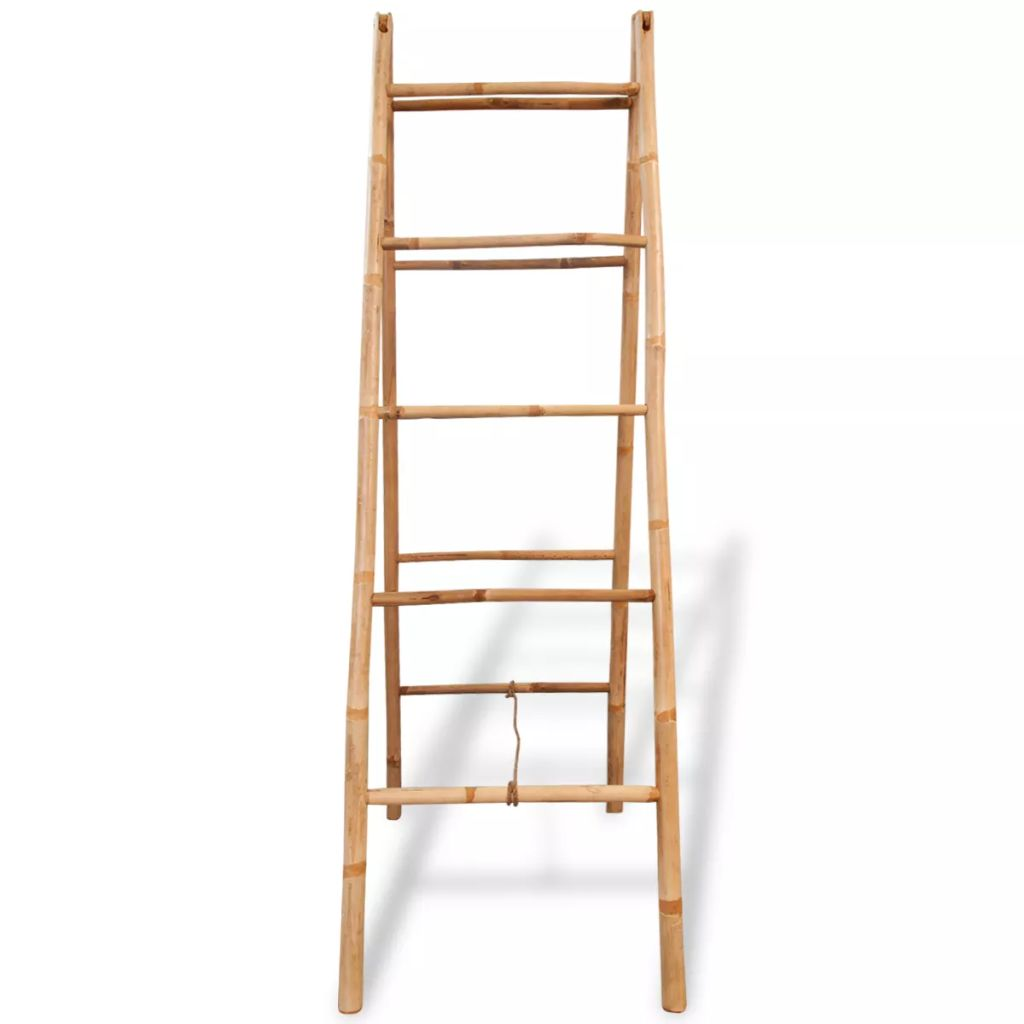 Double Towel Ladder with 5 Rungs Bamboo 50×160 cm 2