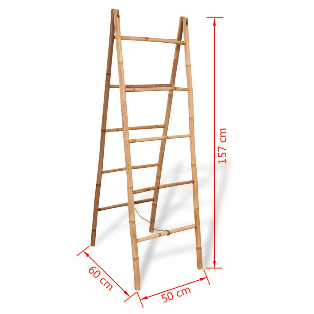 Double Towel Ladder with 5 Rungs Bamboo 50×160 cm 5