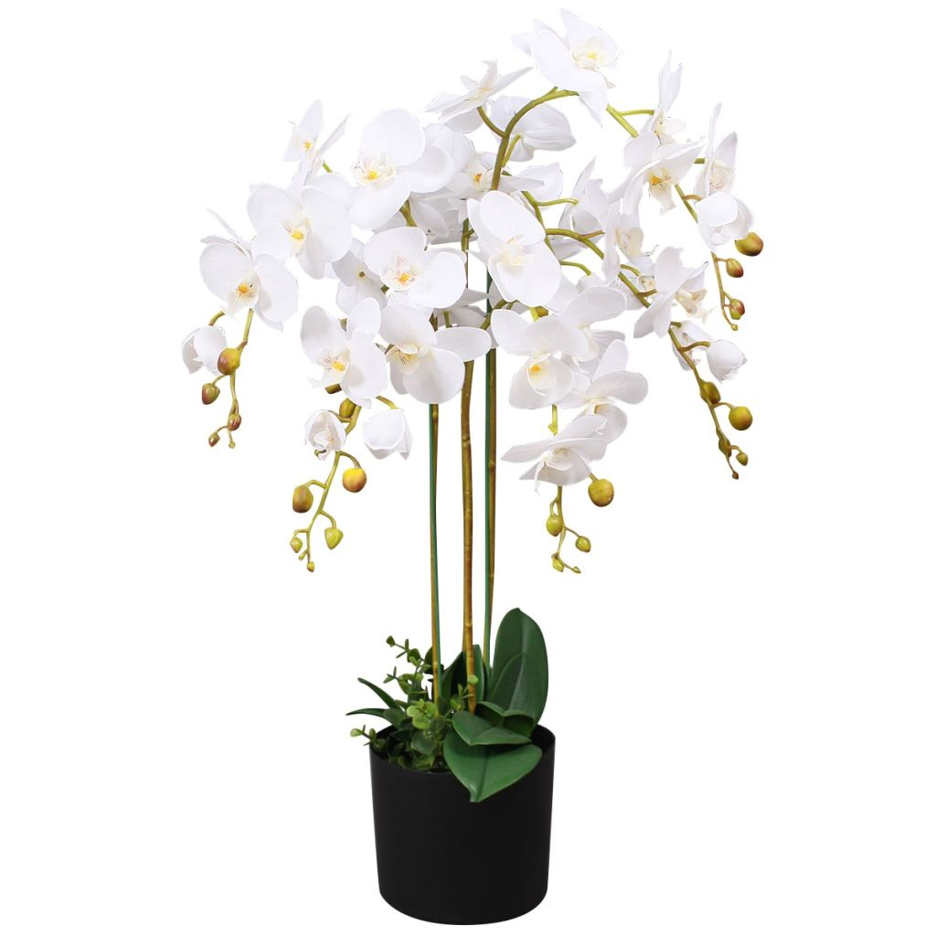 Artificial Orchid Plant with Pot 75 cm White 1
