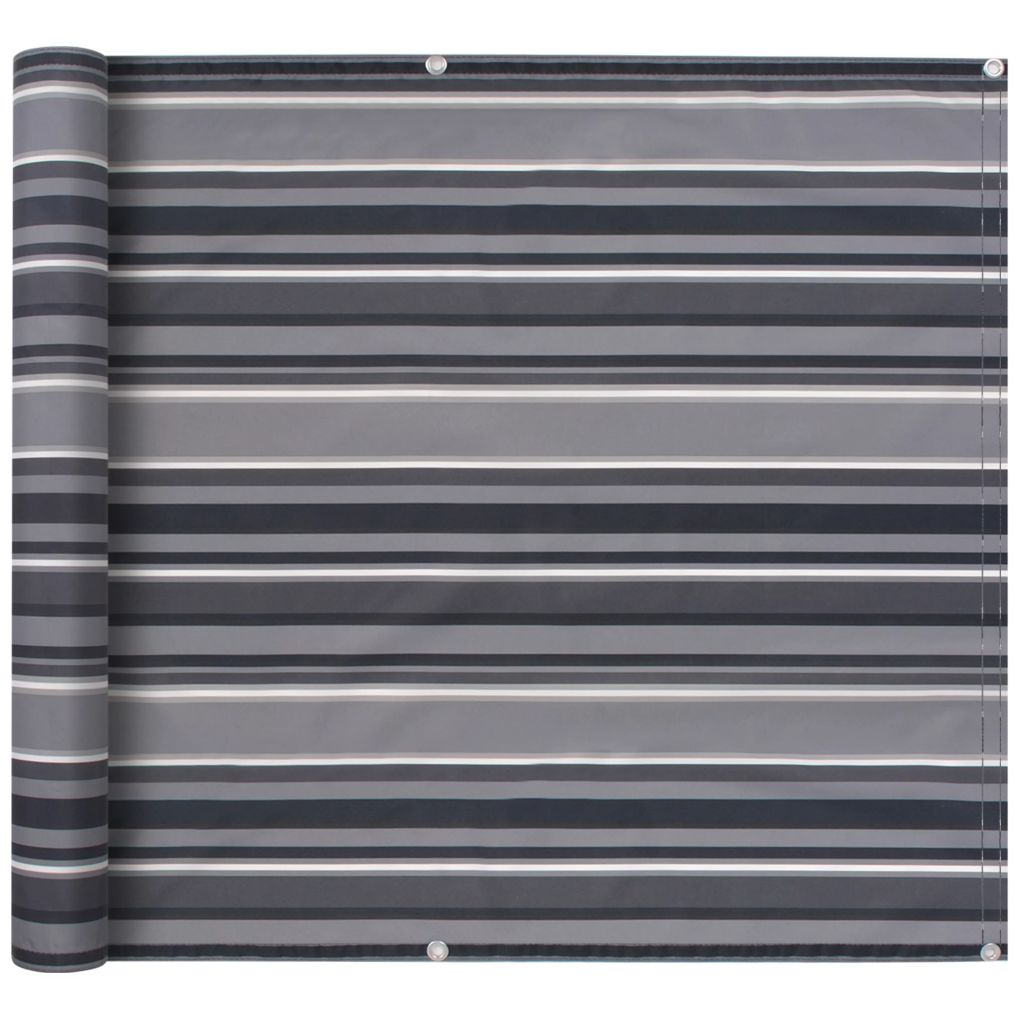 Balcony Screen Oxford Fabric 75x600 cm Stripe Grey