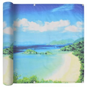 Balcony Screen Oxford Fabric 75×600 cm Lake View Print 1