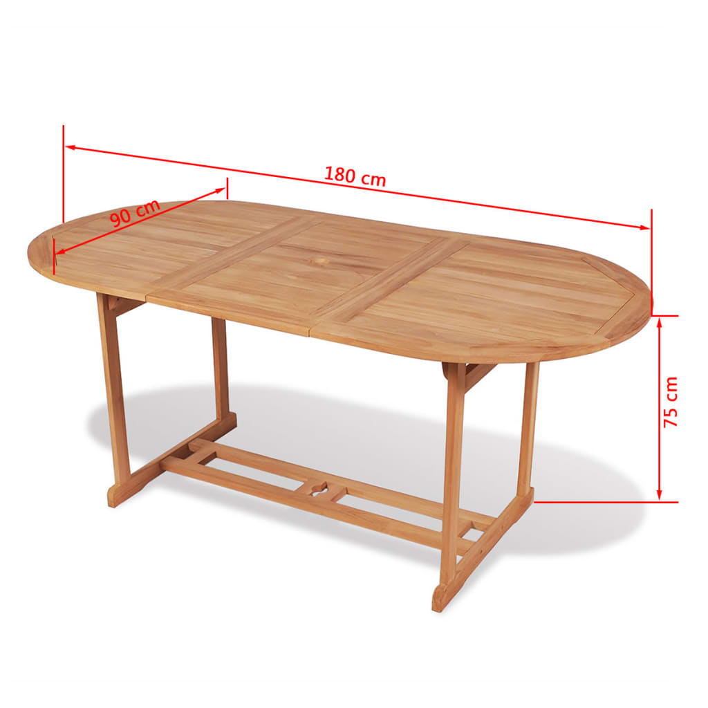 Garden Table 180x90x75 cm Solid Teak Wood 6