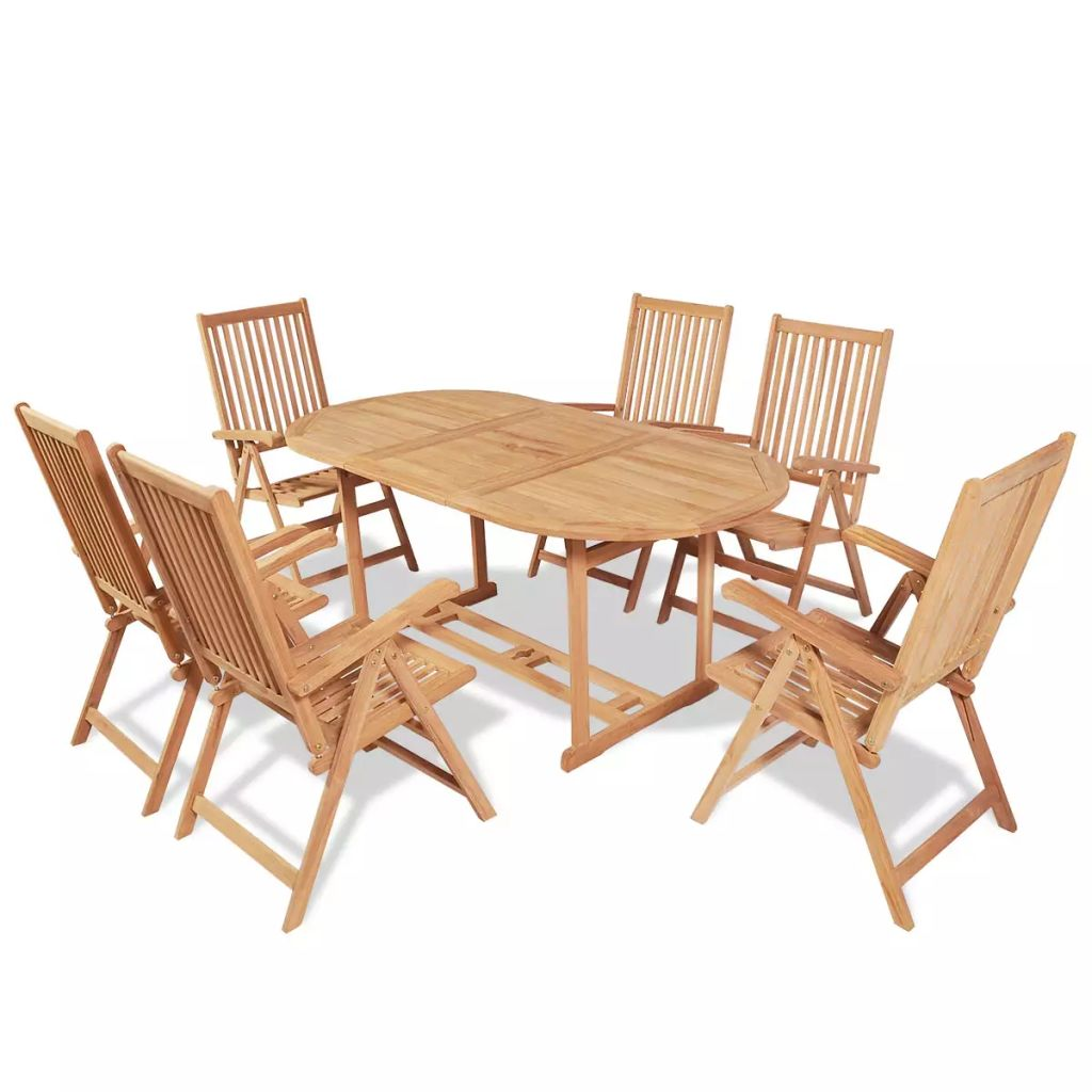 7 Piece Outdoor Dining Set with Folding Chairs Solid Teak Wood 1