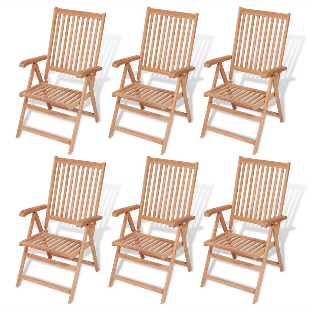 7 Piece Outdoor Dining Set with Folding Chairs Solid Teak Wood 7