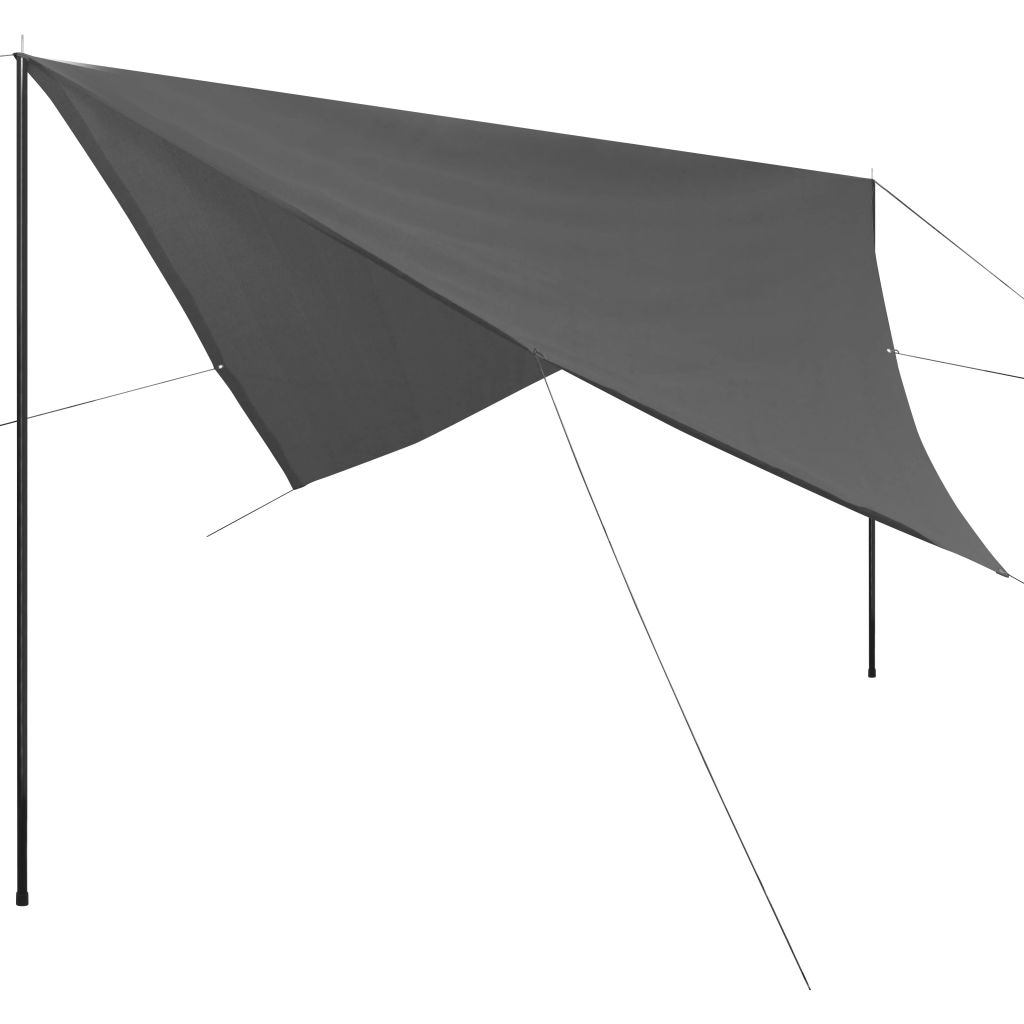 Sunshade Tarp with Poles HDPE Square 3x3 m Anthracite