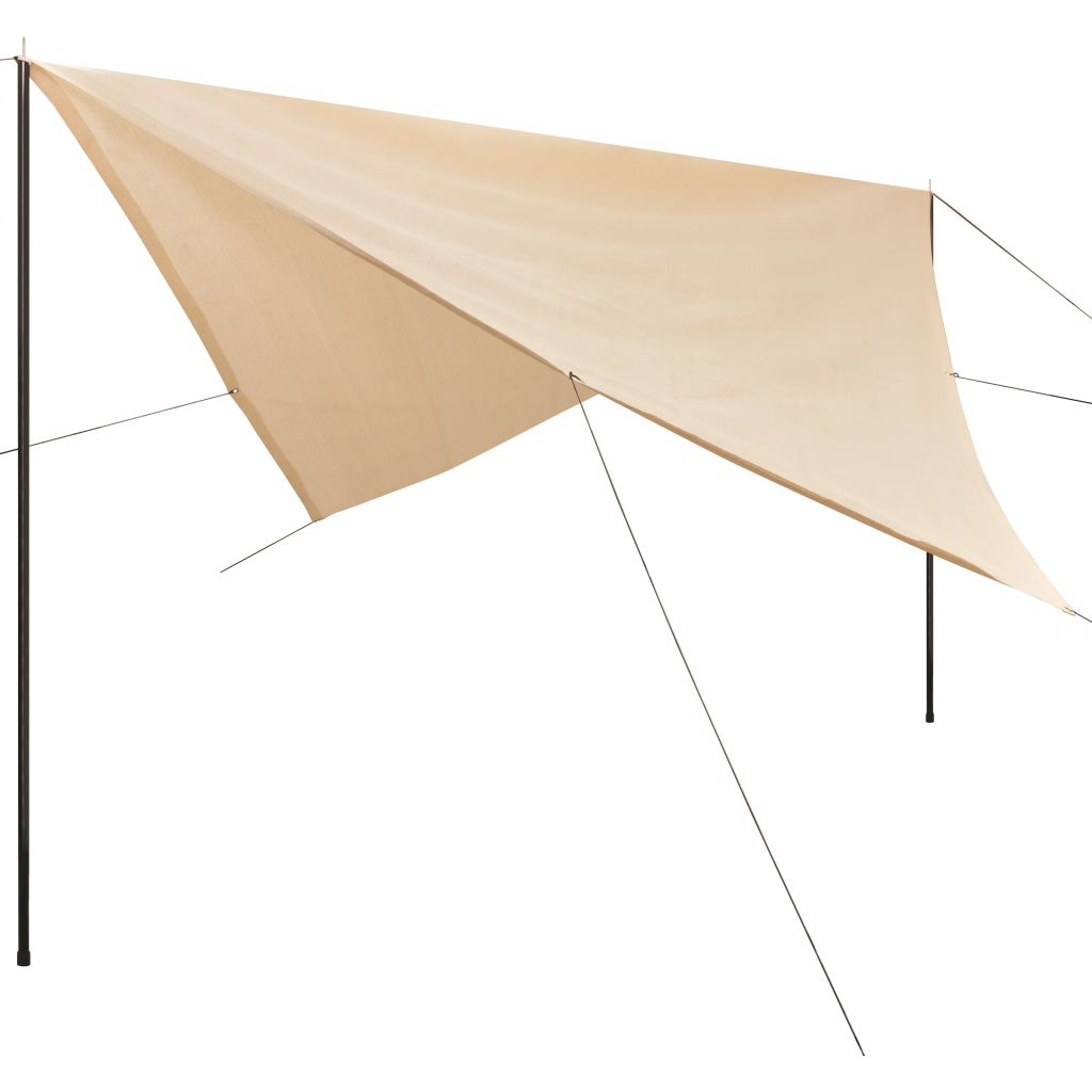 Sunshade Tarp with Poles HDPE Square 5×5 m Cream 1