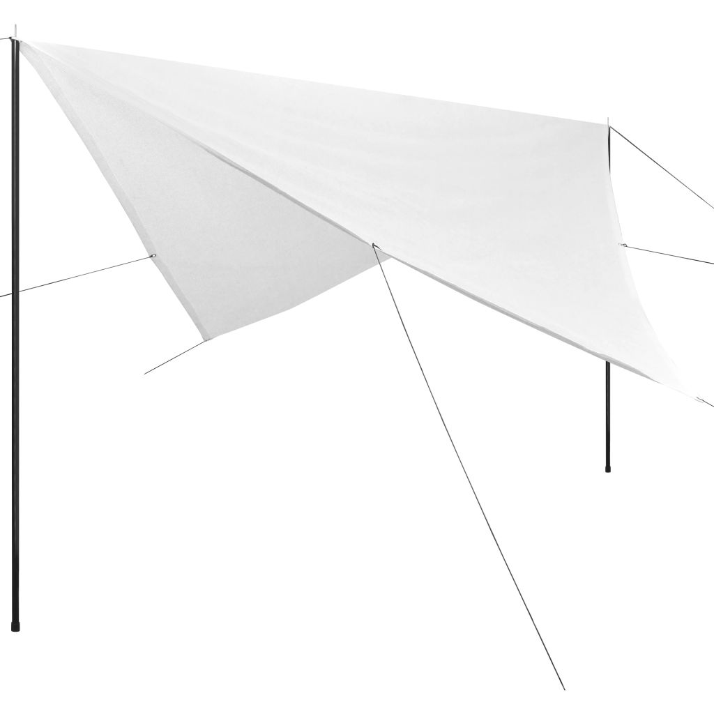 Sunshade Tarp with Poles HDPE Square 3x3 m White