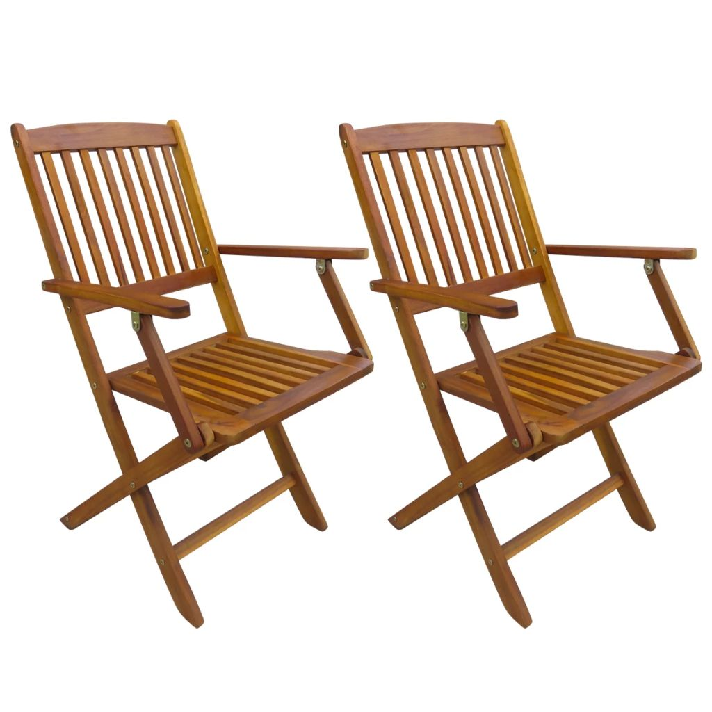 Folding Outdoor Chairs 2 pcs Solid Acacia Wood 1