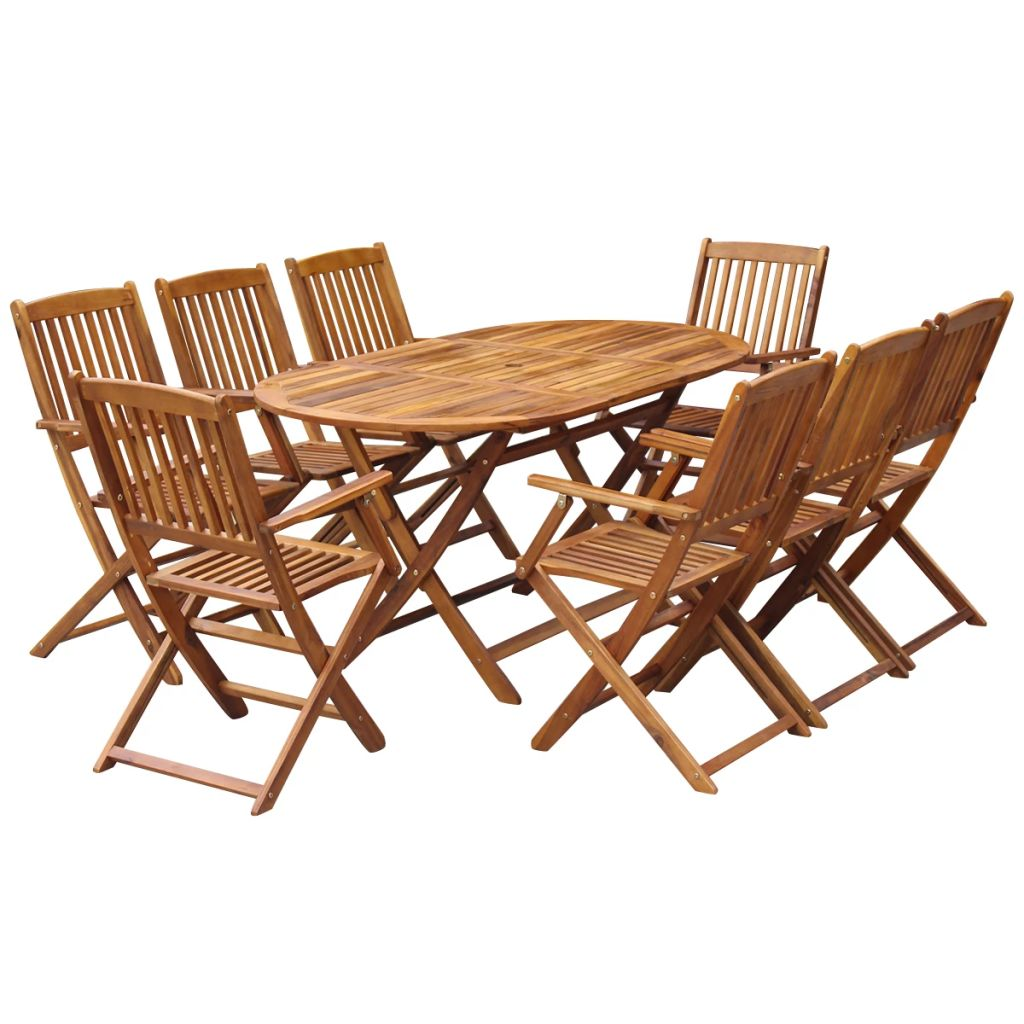 9 Piece Folding Outdoor Dining Set Solid Acacia Wood 1