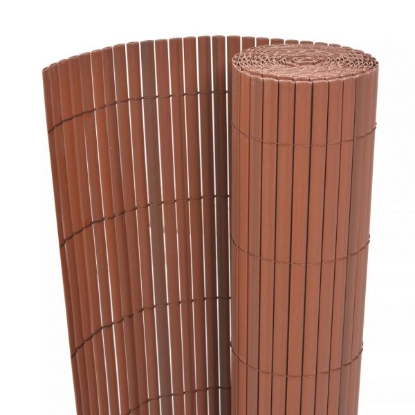 Double-Sided Garden Fence PVC 90×500 cm Brown 1
