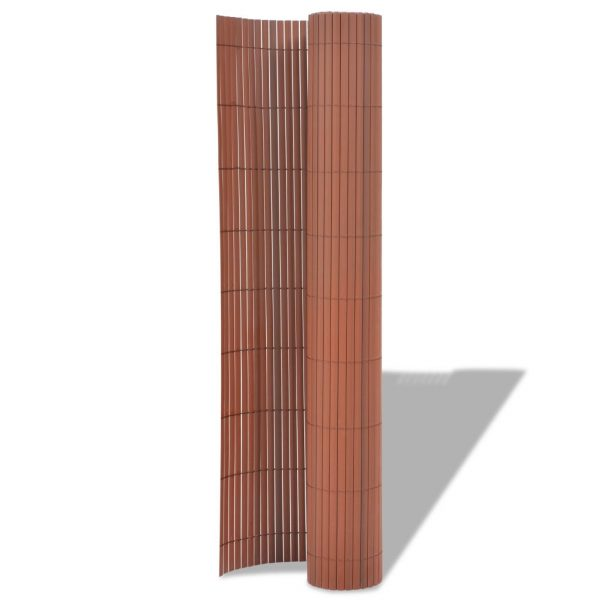 Double-Sided Garden Fence PVC 90×500 cm Brown 2