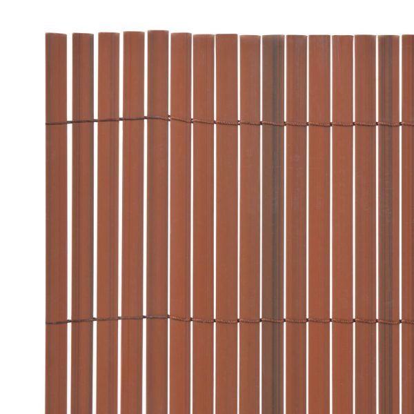 Double-Sided Garden Fence PVC 90×500 cm Brown 3